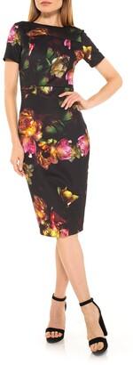 Alexia Admor Scuba Floral Print Midi Sheath Dress