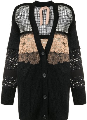 No.21 Floral Embroidered Open Knit Cardigan