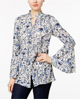 Style&Co. Style & Co Floral-Print Bell-Sleeve Blouse, Only at Macy's