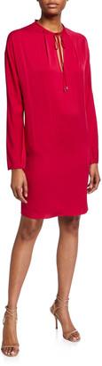 Diane von Furstenberg Jessica Tie-Neck Long-Sleeve Shift Dress