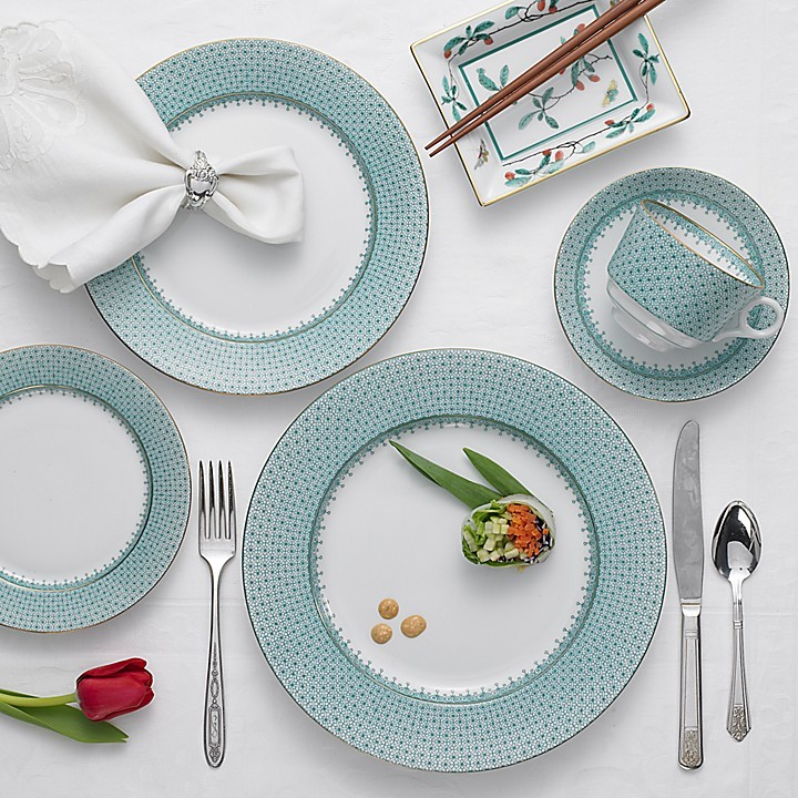 """Mottahedeh Green Lace"""" 5 Piece Place Setting"""
