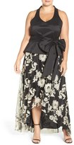 Marina Plus Size Women's Mock Two-Piece Halter Style Gown
