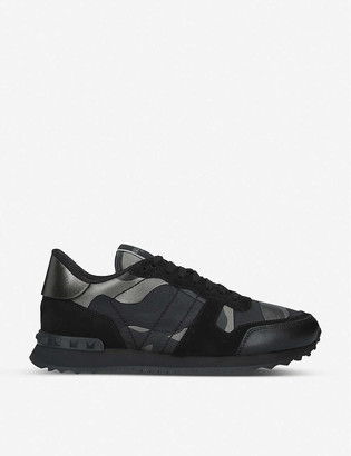 Valentino Rockrunner camouflage woven, suede and leather low-top trainers