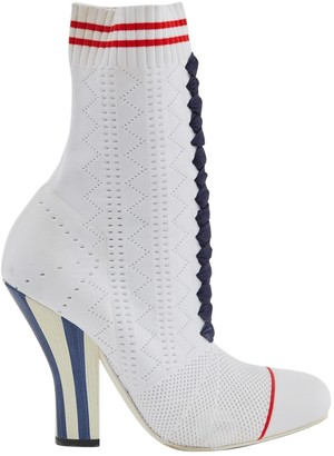 Fendi White Cloth Boots
