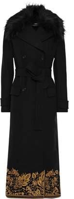 MICHAEL Michael Kors Faux Fur-trimmed Embroidered Embellished Wool-blend Coat
