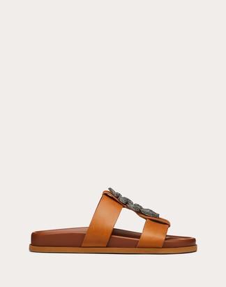 Valentino Garavani Serpent Flat Calfskin Slide Sandal Women Tan 100% Pelle Di Vitello - Bos Taurus 35