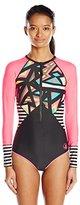 Body Glove Women's Urbania Surface Paddle Long Sleeve One Piece Swimsuit