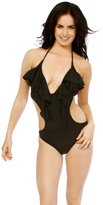 Simplicity Women One Piece Bathing Swimsuit Swimwear-Black XL