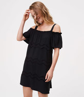 LOFT Tall Chevron Embroidered Cold Shoulder Dress