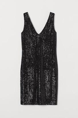 H&M V-neck Sequined Dress - Black