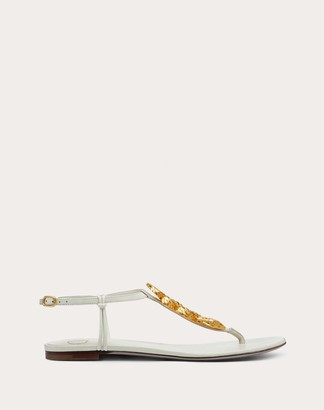 Valentino Serpent Flat Kidskin Sandal Women Light Ivory Lambskin 100% 35.5
