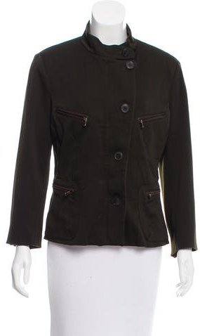 Donna Karan Leather-Trimmed Wool Jacket