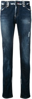 Philipp Plein Paint Splat Slim Fit Jeans