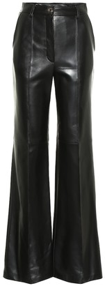 Gucci High-rise flared leather pants