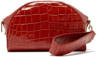 Hillier Bartley Crocodile-effect Leather Clutch - Orange