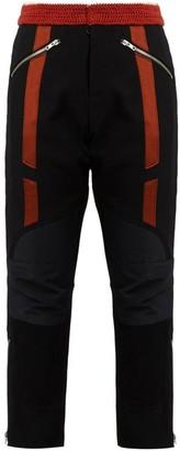 Wales Bonner Georges Crochet-waist Cropped Wool Biker Trousers - Black Red