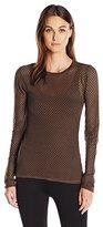 BCBGMAXAZRIA Women's Leander Long Sleeve Mesh Top