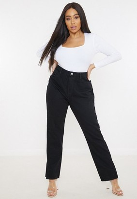 Missguided Plus Size Black Wrath Highwaisted Split Straight Jeans