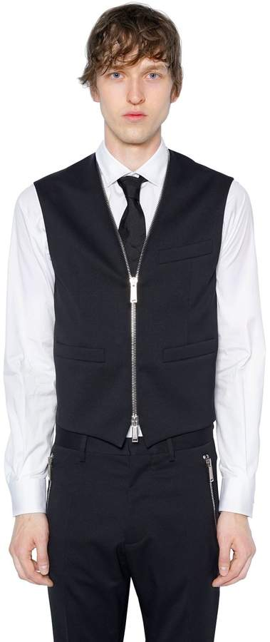 DSQUARED2 Zipped Front Stretch Wool Vest