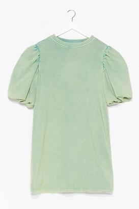 Nasty Gal Womens When the Going Gets Puff Sweatshirt Dress - Pistachio