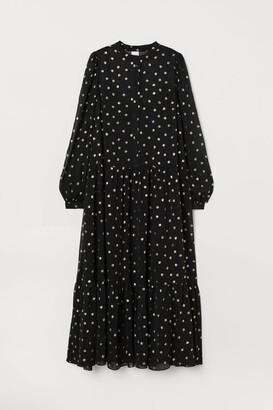 H&M Puff-sleeved Chiffon Dress - Black