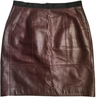 Sandro Burgundy Leather Skirt for Women
