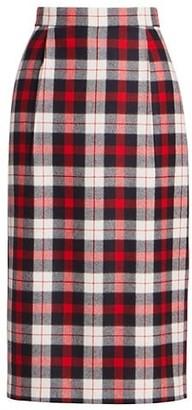 Thom Browne Super High Waist Tartan Check Pencil Skirt