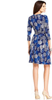 Amy Byer Dress, Three-Quarter-Sleeve Printed Belted Faux-Wrap