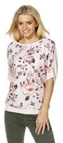 F&F Floral Print Woven Front Short Sleeve Jumper, Women's
