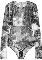 MM6 MAISON MARGIELA Printed Stretch-tulle Bodysuit - Black