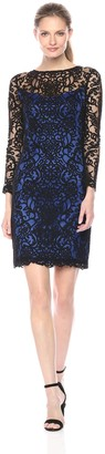 Tadashi Shoji Women's Long Sleeve Embroidered Lace Dress