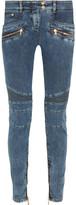 Balmain Moto-style Mid-rise Skinny Jeans - Blue