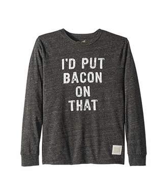 Original Retro Brand The Kids Vintage Tri-Blend Long Sleeve I'D Put Bacon On That Tee (Big Kids) (Streaky Black) Boy's T Shirt