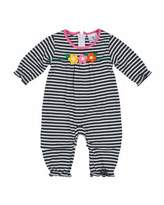 Florence Eiseman Striped Ruffle-Trim Coverall, Navy/White, Size 6-18 Months