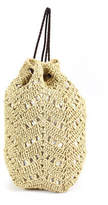 Buji Baja Beige Crochet Paper Suede Drawstring Backpack