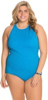 Penbrooke Krinkle Plus Size High Neck Mio Chlorine Resistant One Piece Swimsuit 7538983