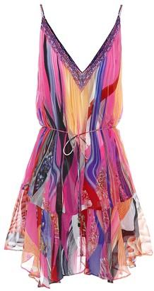Camilla Embellished printed silk minidress