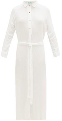 Melissa Odabash Alesha Belted Voile Shirt Dress - Womens - White