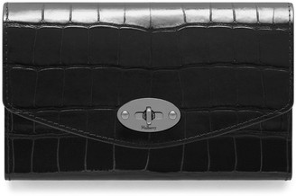 Mulberry Medium Darley Wallet Black Croc Print