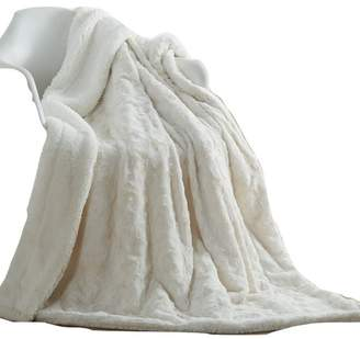 """Dada Bedding Collection Luxury White Roses Warm Luxe Faux Fur Sherpa Fleece Throw Blanket 50"""""""