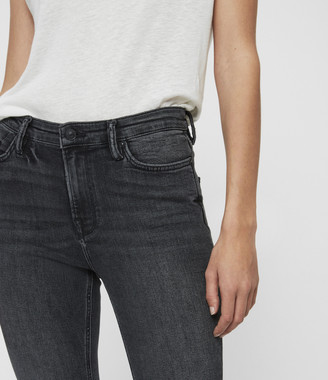 AllSaints Roxanne Cropped Ankle High-Rise Skinny Jean, Washed Black
