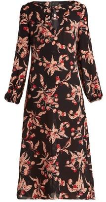 Dundas Printed Silk Georgette Midi Dress - Black Pink