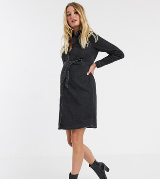 Mama Licious Mamalicious Maternity denim shirt dress with belted waist in washed black
