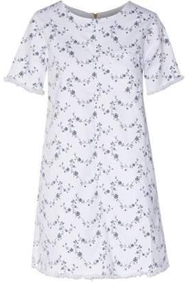 Current/Elliott The Fray Edge Shift Floral-print Denim Mini Dress