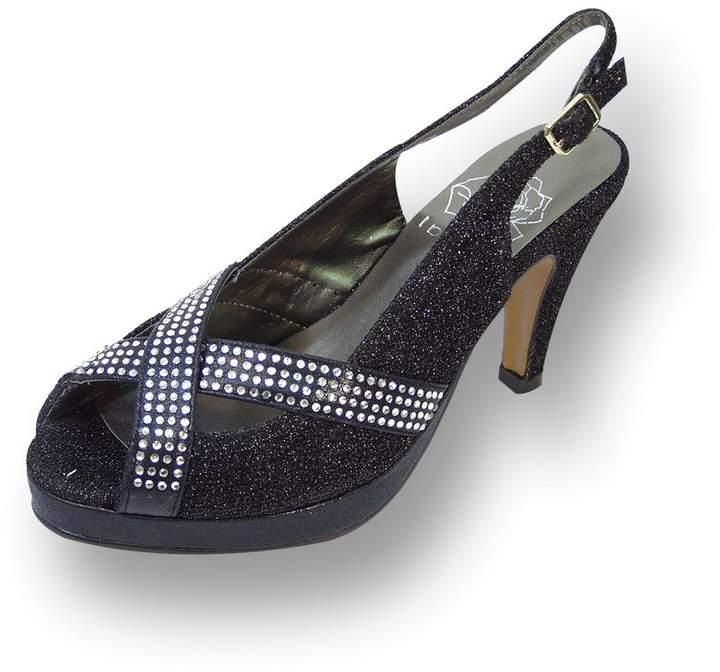 cb4a2ba9a89d7 Floral FIC Women Extra Wide Width Slingback Platform Heels 9