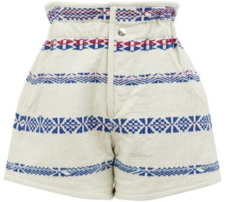 Isabel Marant Baixa Cotton-blend Jacquard Shorts - Womens - White Multi