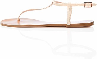 Find. Amazon Brand Women's Two-band Sparkly Open-Toe Flat Sandals Pink Blush) US 6.5
