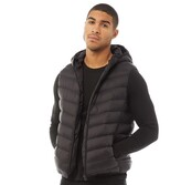 Fluid Mens Hooded Puffer Gilet Black