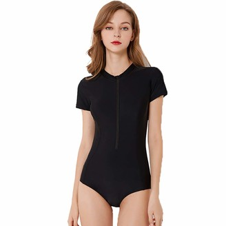 Abuyall Black One Piece Swimsuit for Women with Zip Front Short Sleeve Surfing Slimming Rushguard B M