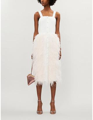 Huishan Zhang Tallulah feathered stretch-crepe midi dress